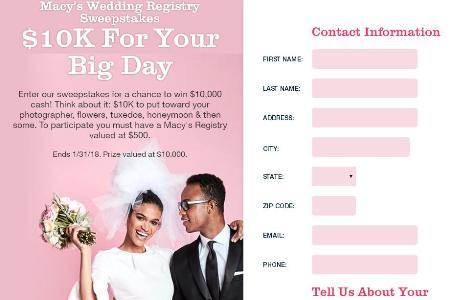 Macy Wedding Registry.Macy S Wedding Registry Sweepstakes Win 10 000 Cash Contestbig