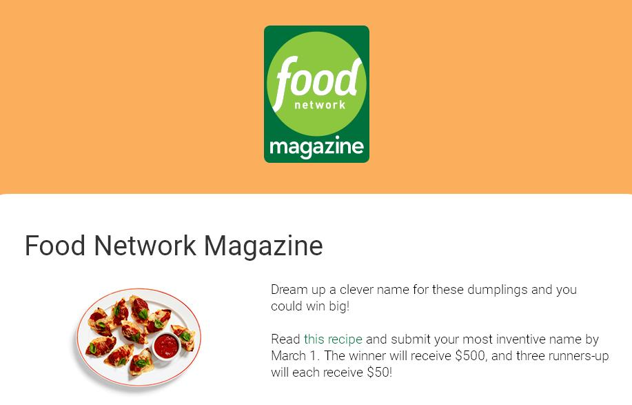 Food network magazine name this dish contest stand chance to win food network magazine name this dish contest stand chance to win 500 a 50 gift contestbig forumfinder Images